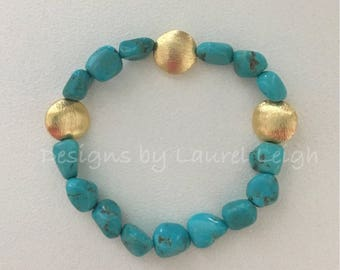 GOLD and TURQUOISE Beaded Bracelet | gold plated, stretchy, DesignsbyLaurelLeigh
