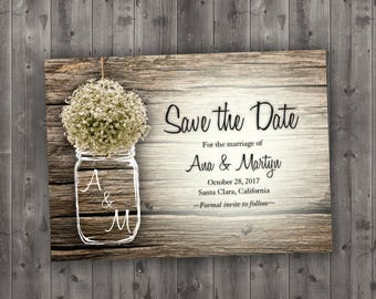 MASON JAR Baby's Breath Flowers Rustic Save the Date Printed - Wedding Save The Date, Affordable, Cheap, Wood, Summer, Outside
