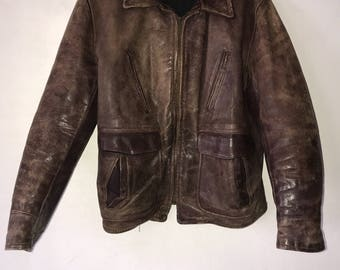 Brown real vintage motorcycle leather jacket man size small .