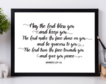 The Lord Bless you and Keep You - Digital Download, Scripture Art, Bible Verse, calligraphy, Gift Print, 2 sizes