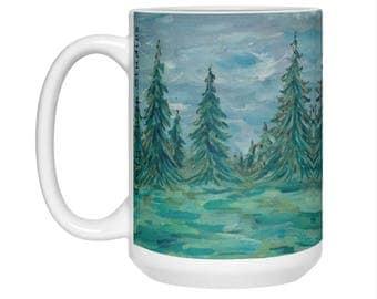 Winter Coffee Mug, Christmas trees, Pine trees, Winter art, Large mug 15 oz