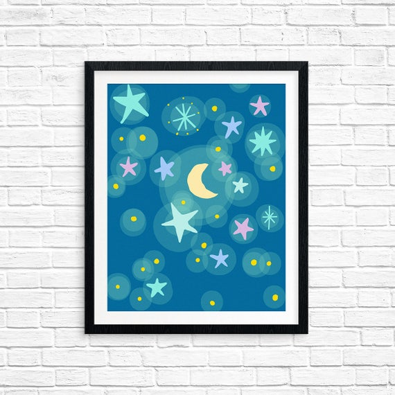 Printable Art, Starry Night with Moon, Pattern, Modern Art, Minimalist Art, Art Printable, Home Decor, Digital Download Print