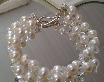 Freshwater white pearl and clear quartz double strand bracelet