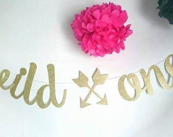 Wild one banner, Gold glitter banner, 1st birthday, happy birthday, party ideas, first birthday, smash cake, kids birthday, photo prop, one