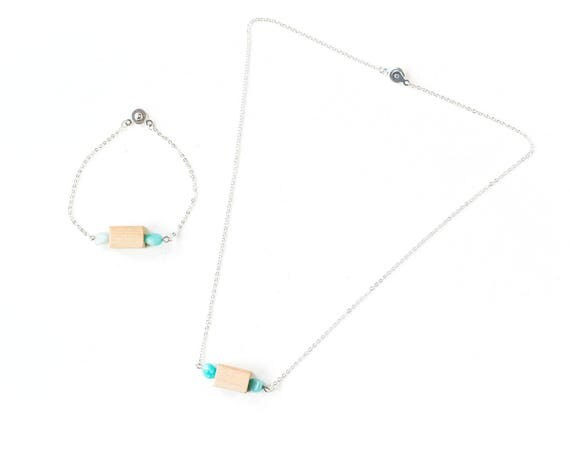 Gemstone Bar Diffuser Necklace & Bracelet Set (Silver)