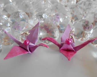 Origami earrings two tone Fuchsia pearls