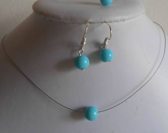 Set of 3 wedding turquoise solitaire Pearl pieces