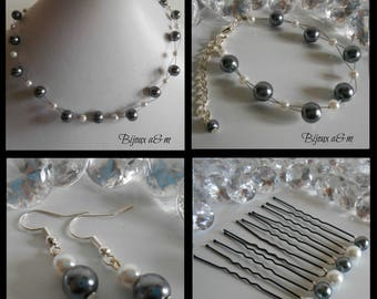 Set of 4 wedding pieces twist of white and charcoal gray beads