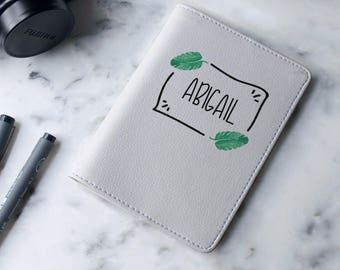 Personalized Watercolor Cactus Frame - Passport Cover/Holder - Travel Passport Cover - High Quality Handmade Leather | TTG-PPC-829