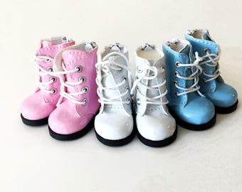 Doll boots Doll shoes 5cm pink white and blue boots