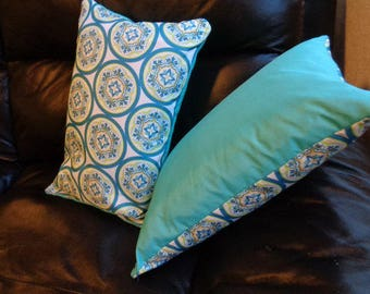 Teal Abstract Accent Pillow Cover 2 sided