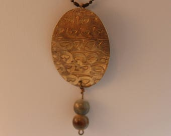 Artist Designed Etched Brass Pendant with glass beads (061617-008)
