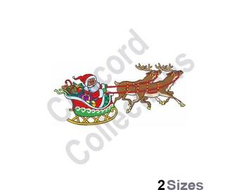Santa Claus Sled - Machine Embroidery Design, Reindeer And Sleigh - Machine Embroidery Design