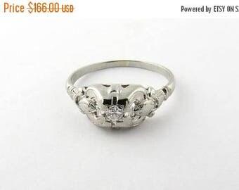 4th of July Sale Vintage 18K White Gold Diamond Ring Size 7.75 #985