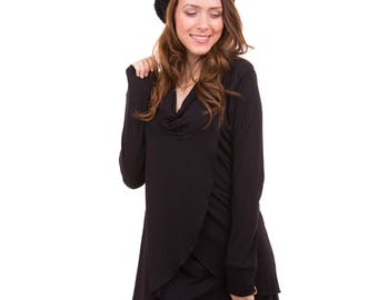 Angel Nursing Tunic | Black Breastfeeding Shirt | Favorite Winter Nursing Top | Baby Shower Gift Under 40 | Mothers Day Gift | Maternity Top