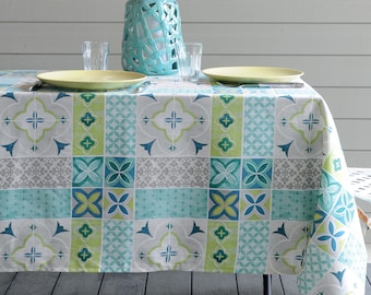 French Provence LISBON Rectangle Tablecloths   French Oilcloth Indoor  Outdoor Coated Tablecloth   French Decor Lovers