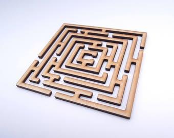 Wooden Labyrinth for Crafts - Laser Cut - Labyrinth Shape - Labyrinth Decoration - Labyrinth Coaster