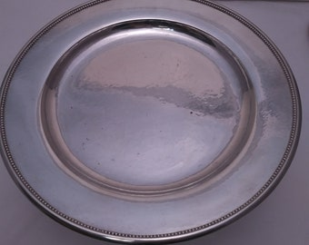 "Georg Jensen 10 1/4"" Hammered Sterling Silver Platter, Pattern 210F"