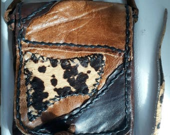 Leather mobile phone cover, leather pouch, hand stitched