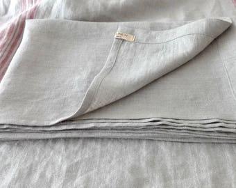Linen sheet Cot.Flat sheet.Natural Grey-undyed /White/Ultra soft Lithuanian/linen sheet