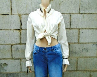 Vintage Blouse - 1980's - Long Sleeved Blouse - Ruffle Blouse - Ivory