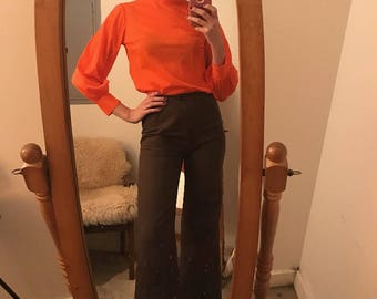 Vintage Seventies 1970s Womens Tangerine Turtle Neck Blouse Size Small to Medium