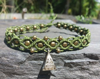 Khaki anklet ankle bracelet is handmade and beads