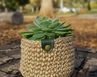 Small Crochet pot plant holder, Crochet Storage Baskets, Natural Jute Basket