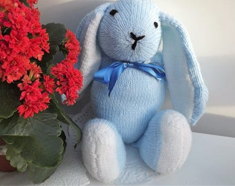 Blue Rabbit, hand knitted soft toy.