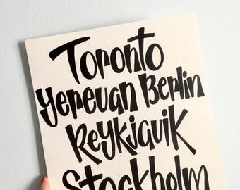Custom Favourite Cities Hand Lettering Poster (Original and handmade)