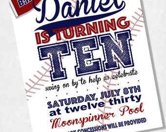 Custom Baseball Invitations, Birthday Party Invitations, Printable Invitations, All-American Party, Baseball Party, Digital Files