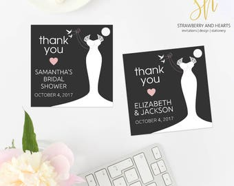 Bridal Shower Favor Tags, Wedding Favor Tags, Wedding Dress, White Doves, Thank You Tags, Gift Tags, Party Tags, Printable Tags, SH54