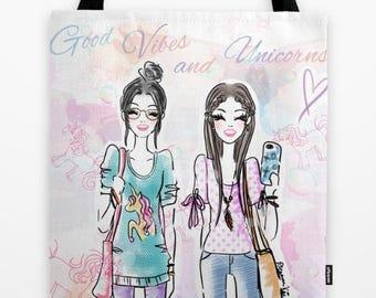 Fashion Illustration Tote Bags, Rainbow unicorn bags , Unicorn Tote Bag , pastel unicorn tote, unicorn vibes, cute unicorn bag,