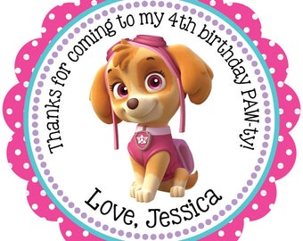 Paw Patrol SKYE Digital OR Printed Birthday Number Personalized Stickers for Gift Bag, Party Favors, Birthday Stickers