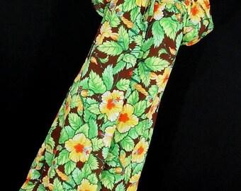 ON SALE Vintage Hilo Hattie Dress M Medium MuuMuu Green Brown Orange Floral Flower Tie Scoop Neck S/S Women's M2