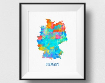 Germany Map Print, Germany Map Wall Art, Map Of Germany Poster, Watercolour Map Print, German Wall Art, Home Decor Map (710)