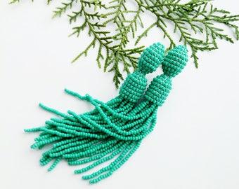 Beaded earrings Turquoise beaded tassel earrings Oscar Light beaded tassels Trendy jewelry
