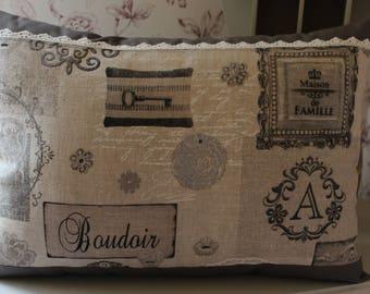 Beige linen and cotton BOUDOIR pillow cover gray Ecru /dentelle