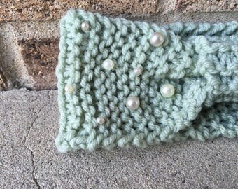 Mint green and pearl bow headband