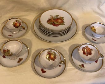 Vintage Orchard pattern Desert set by Jaeger Co. For E&R Co. Golden Crown Importers