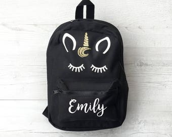 Personalised Kids White Unicorn, Black Mini Backpack - Custom Girls Children's School Bag - Glitter Name