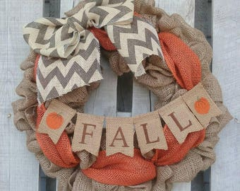 Fall Burlap Wreath with Mini Banner, Autumn Burlap Wreath, Fall Door Wreath, Rustic Fall Wreath