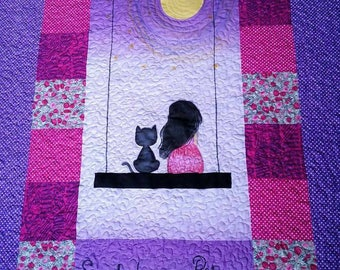 Cat Quilt, baby quilt, baby girl gifts, toddler quilt, Handmade quilt, Baby quilt sale, purple quilt, girls Quilt, baby shower gift, sale