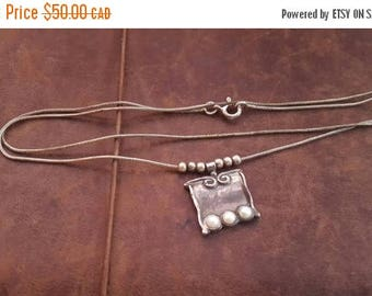 ON SALE Vintage Sterling Silver Necklace with Silver and Pearl Pendant