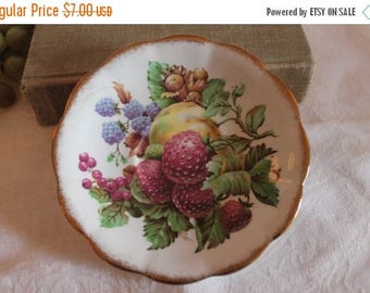 "Christmas in July Sale Royal Standard Fine Bone China 5.75"" Saucer adorned with Fruits"