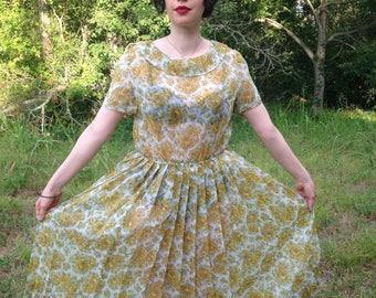 Lovely sheer 1950s Yellow Rose of Texas Dress