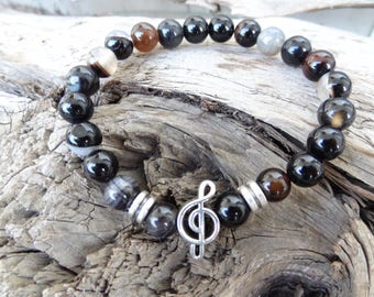 EXPRESS SHIPPING,Black Pied Agate Bracelet,Music Note Bracelet,Unisex Stones Stretch Bracelet,Yoga,Meditation,Beaded Spiritual,Gift for Her