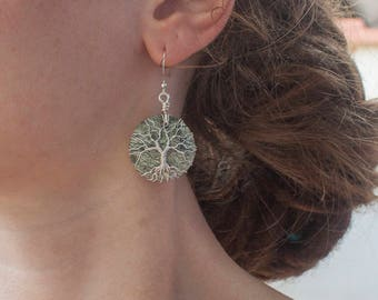 Earrings trees on serpentine gemstones - tree of life - wirewrapping - delicate - gift - mother - sister - birthday - handmade gift