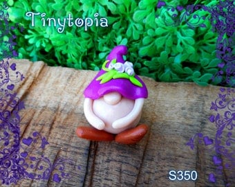 Miniature purple flower hat gnome! Handmade and one of a kind. Fairy garden accessory!