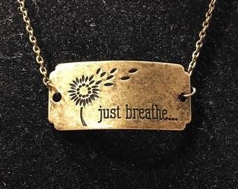 Antique bronze 'just breathe' pendant necklace